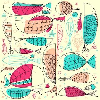 Doodle de mão desenhada peixe padrão.