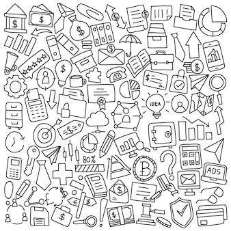 Doodle de materiais de escritório e negócios