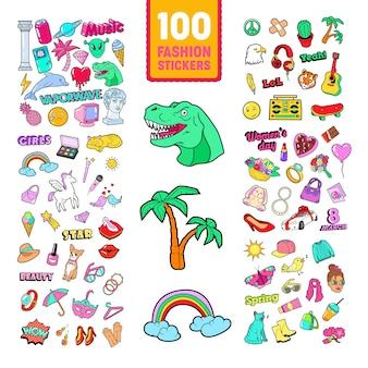 Doodle de menina com arco-íris e unicórnio