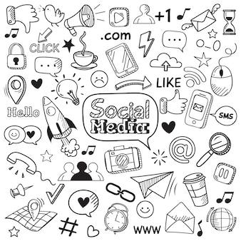 Doodle de mídia social. rabiscos de site na internet, comunicação de rede social e conjunto de ícones de mão desenhada web on-line