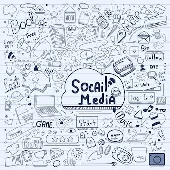 Doodle de mídias sociais.