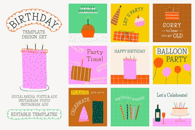 Doodle de modelo de festa de aniversário conjunto de postagem em mídia social fofa