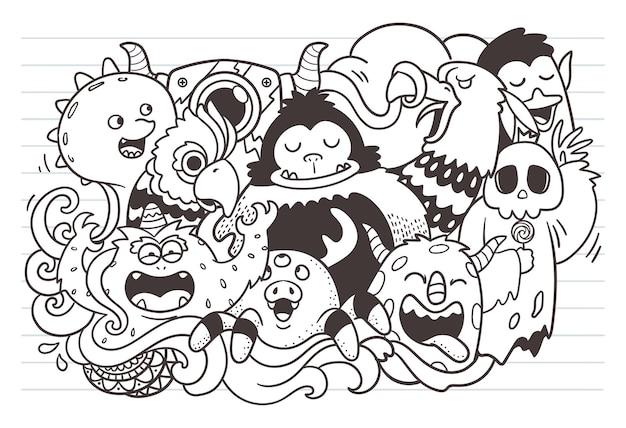 Doodle de monstro engraçado