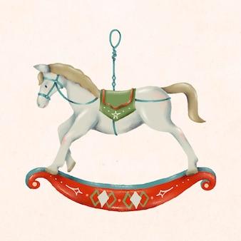Doodle de natal, cavalo de balanço, vetor de ilustração fofa