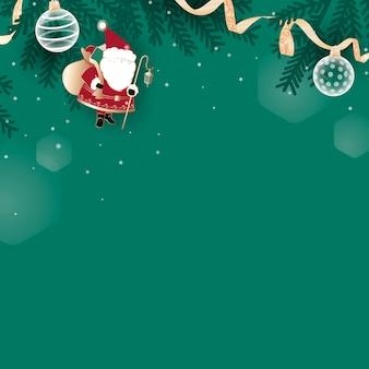 Doodle de natal em fundo verde