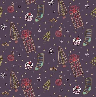 Doodle de natal sem emenda