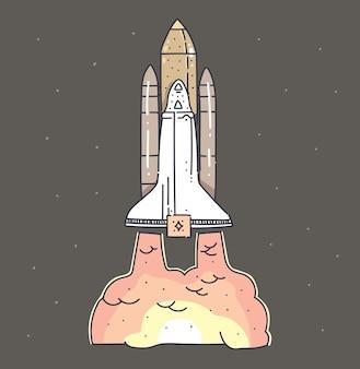 Doodle de nave espacial voadora. nave espacial vai para marte