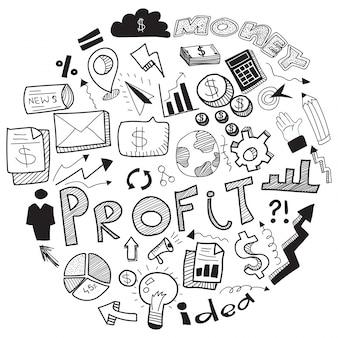 Doodle de negócios, com sinal de negócios preto e branco, símbolos e ícones.