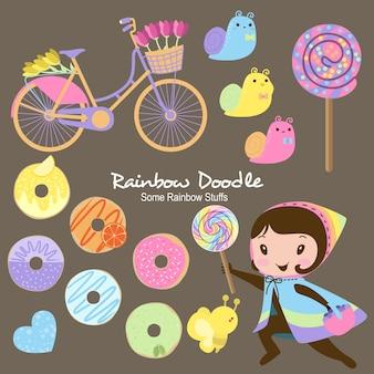 Doodle de objetos de arco-íris ashley