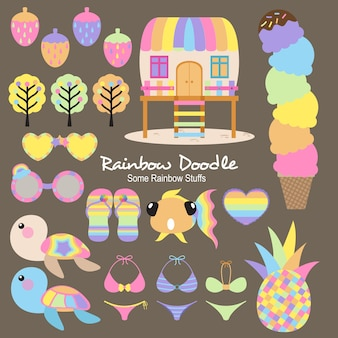 Doodle de objetos de arco-íris de agosto