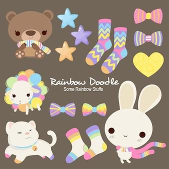 Doodle de objetos de arco-íris sally