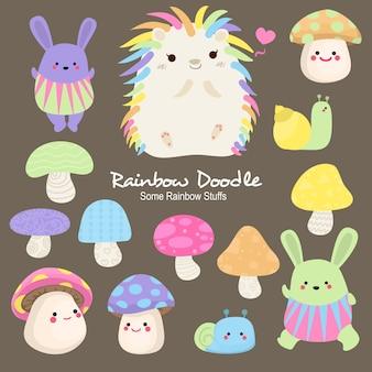 Doodle de objetos do arco-íris ace