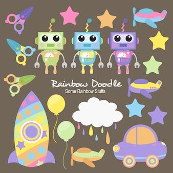 Doodle de objetos do arco-íris de hans