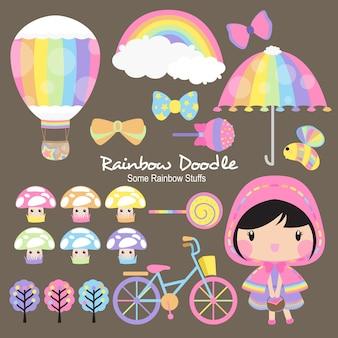 Doodle de objetos do arco-íris de joseph