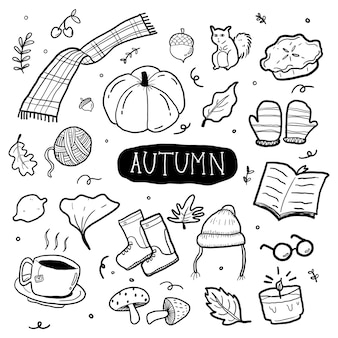 Doodle de outono desenhado à mão
