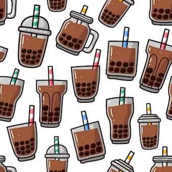 Doodle de padrão sem emenda de bebida de chá de bolha boba.