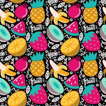 Doodle de padrão sem emenda de frutas tropicais