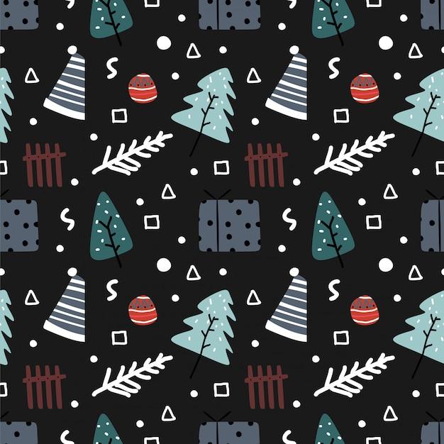 Doodle de padrão sem emenda de natal colorido mão desenhada