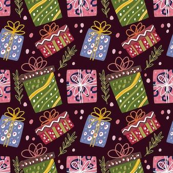 Doodle de padrão sem emenda do elemento de caixa de natal, caixa de aniversário.