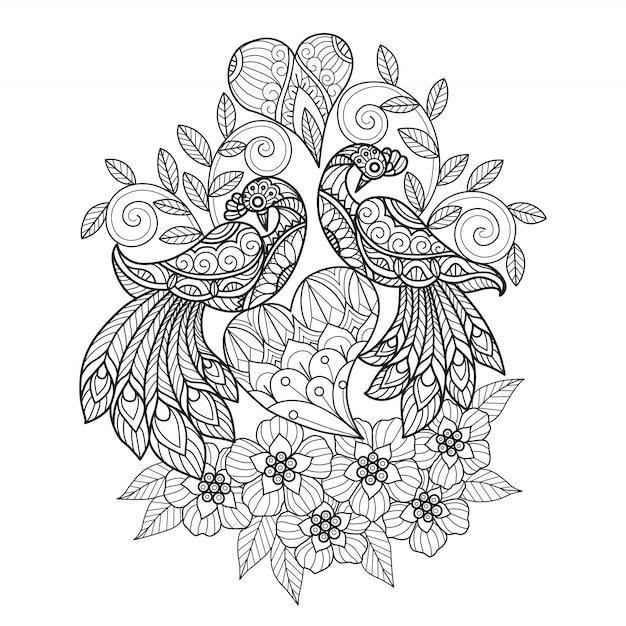 Doodle de pássaros apaixonados zen, página para colorir