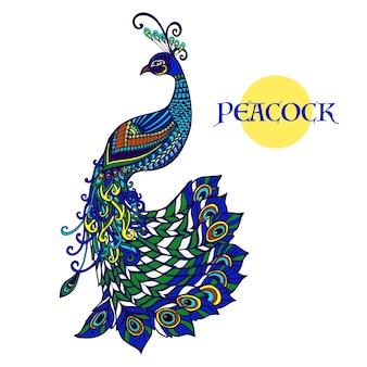 Doodle de pavão decorativo