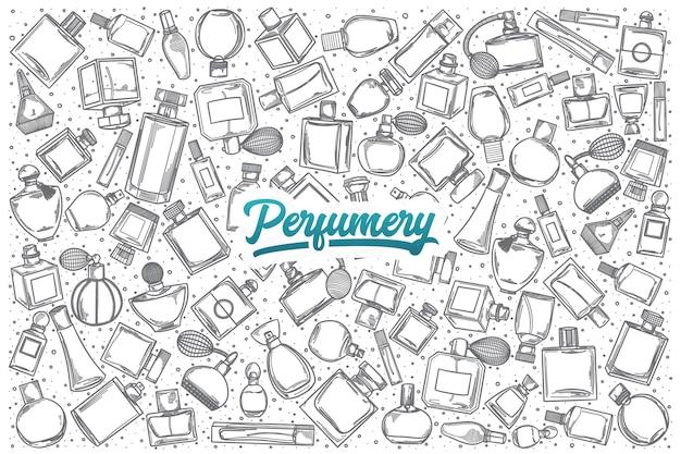 Doodle de perfumaria desenhado à mão definir fundo com letras azuis