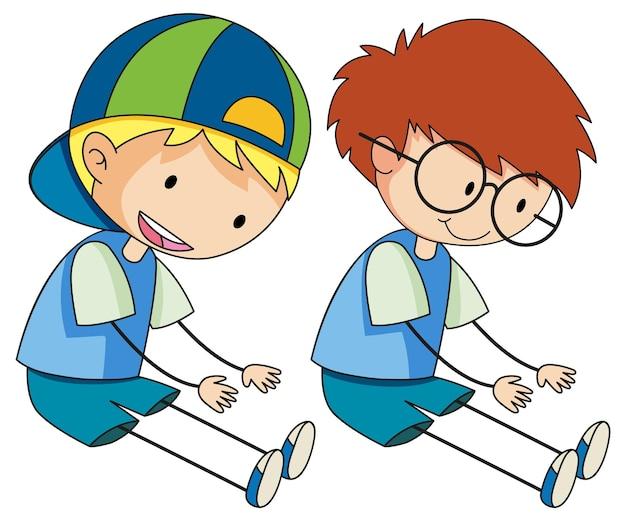 Doodle de personagem de desenho animado de crianças isolado