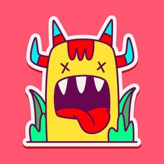 Doodle de personagem monstro bonito