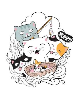 Doodle de pesca de gato