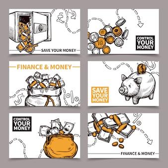 Doodle de pictogramas de composição de cartões de finanças de negócios