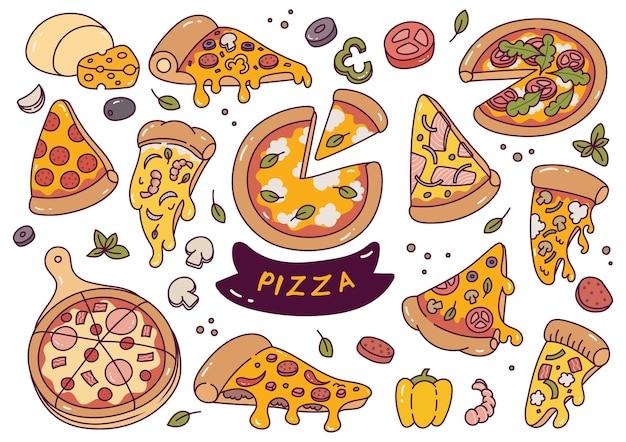 Doodle de pizza desenhado à mão