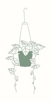 Doodle de planta de casa psd de planta suspensa