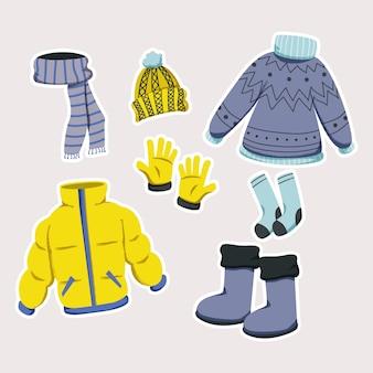 Doodle de roupa de inverno do dia