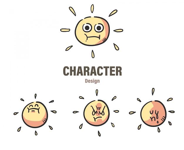Doodle de sol estilo dos desenhos animados. dom