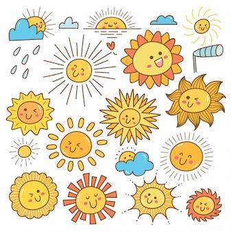 Doodle de sol kawaii, elemento de design de sol de verão