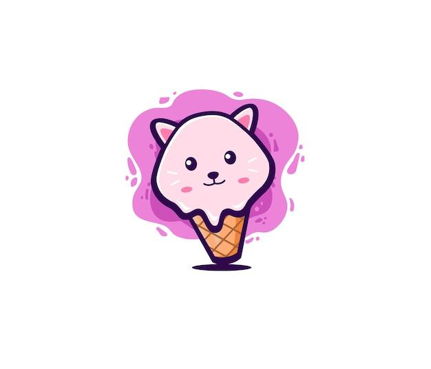 Doodle de sorvete de gato fofo art illustrasi Vetor Premium