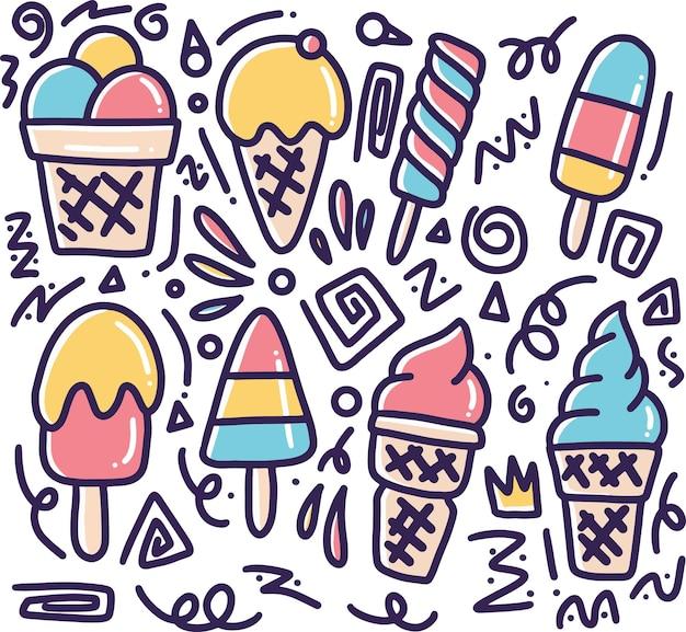 Doodle de sorvete desenhado à mão com ícones e elementos de design