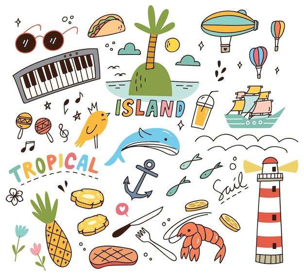 Doodle de tema ilha tropical