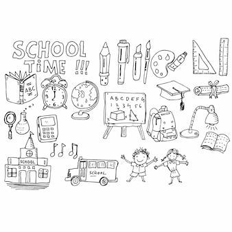 Doodle de tempo de escola