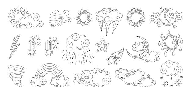 Doodle de tempo preto e branco definido com sol e nuvens