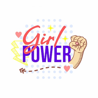 Doodle de tipografia de poder de menina