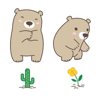 Doodle de urso e flor
