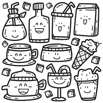 Doodle de várias bebidas