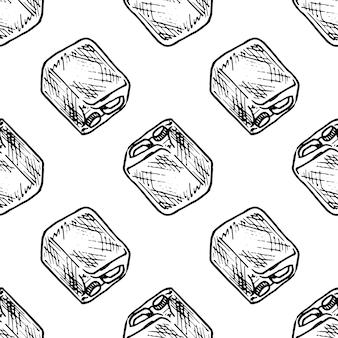 Doodle de vasilha desenhada de mão padrão sem emenda. ícone de estilo de esboço. elemento de decoração. isolado em um fundo branco. design plano. ilustração vetorial.