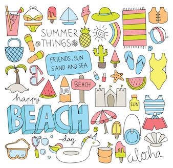 Doodle de verão conjunto de ilustração vetorial