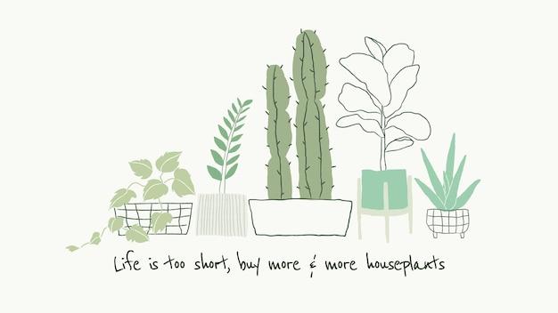 Doodle de vetor de modelo de citação de amante de plantas fofo para banner do blog