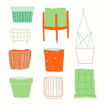 Doodle de vetor de vaso de plantas coloridas