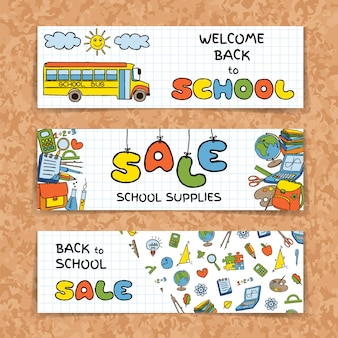 Doodle de volta para banners de venda de escola