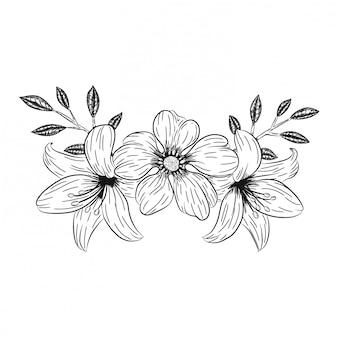 Doodle decorações de flores da orquídea