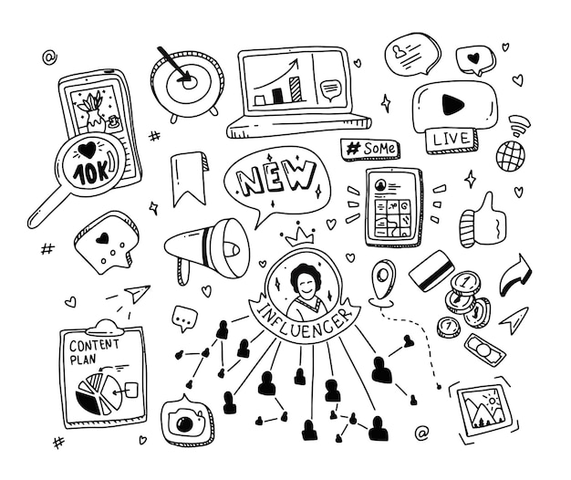 Doodle definir conceito de mídia social. elementos de marketing influenciadores.
